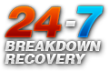 24 Hours a day - 7 days a week breakdown recovery